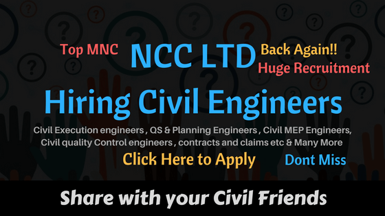 NCC LTD Hiring Civil Engineers