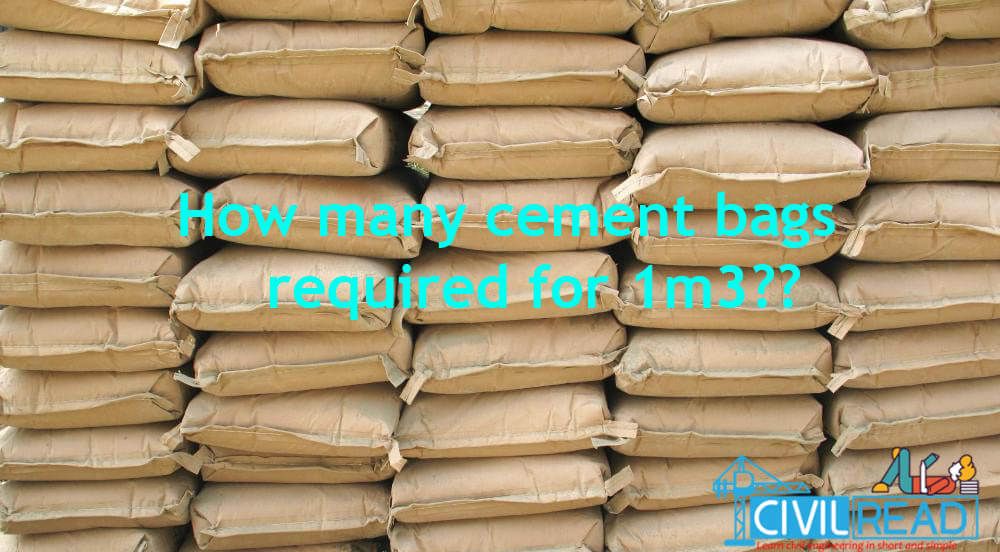 cement bags required for one 1m3