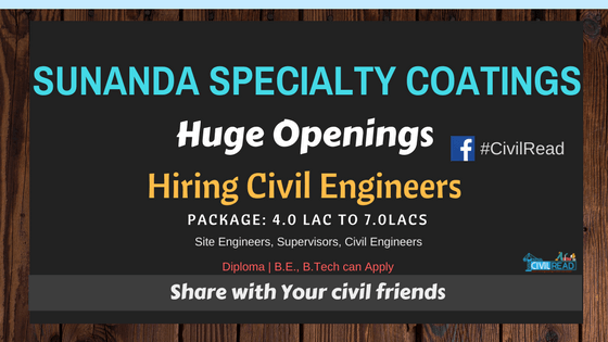 Top MNC Sunanda Speciality Coatings Hiring Civil Engineers