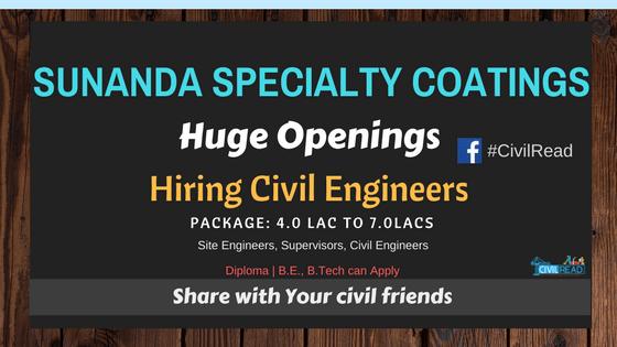 Top MNC Sunanda Speciality Coatings Hiring Civil Engineers