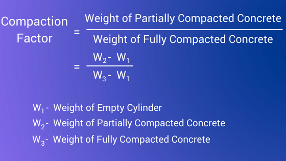 compaction factor test of concrete formula