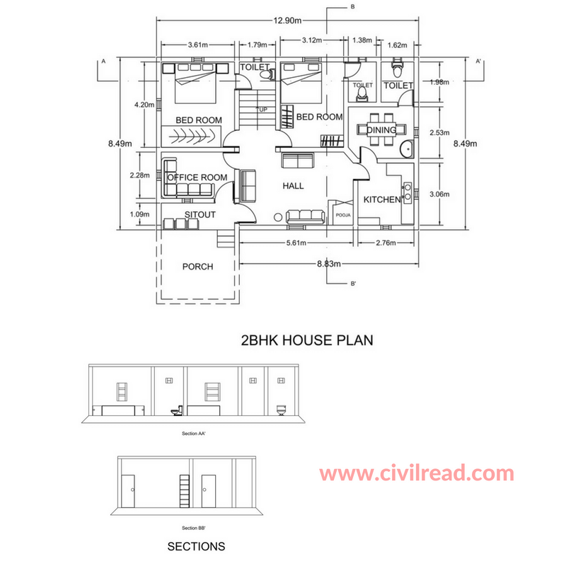 Plan and section 2BHK AUTOCAD draeing