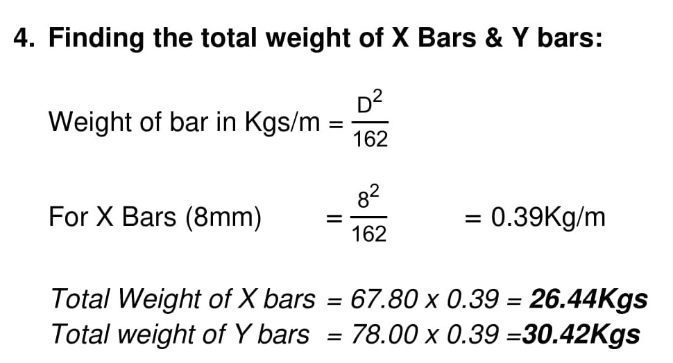 BBS of waist slab calculation