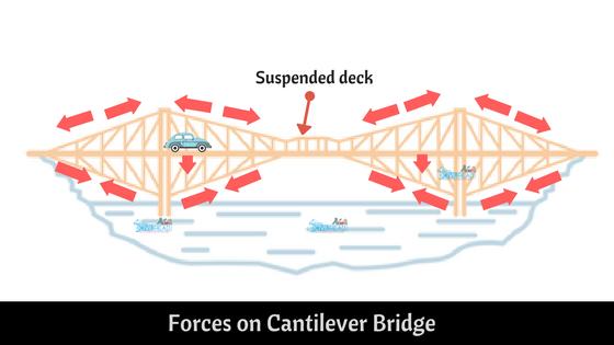 forces on Cantilever Bridge with suspension deck